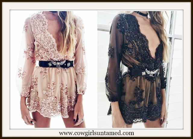 COWGIRL GLAM ROMPER Sequin Deep V Neck Romper