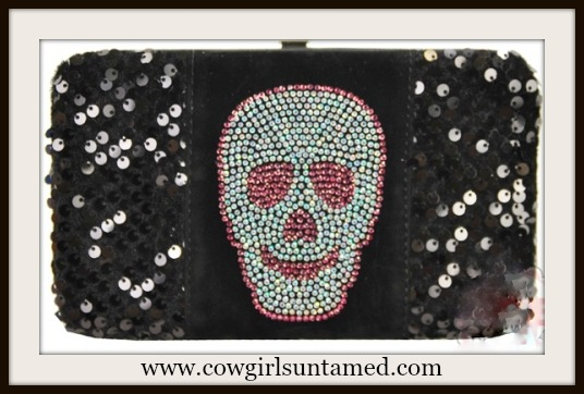 COWGIRL GYPSY WALLET Black Sequin N Crystal Skull on Velvet & Black Leather Western Wallet