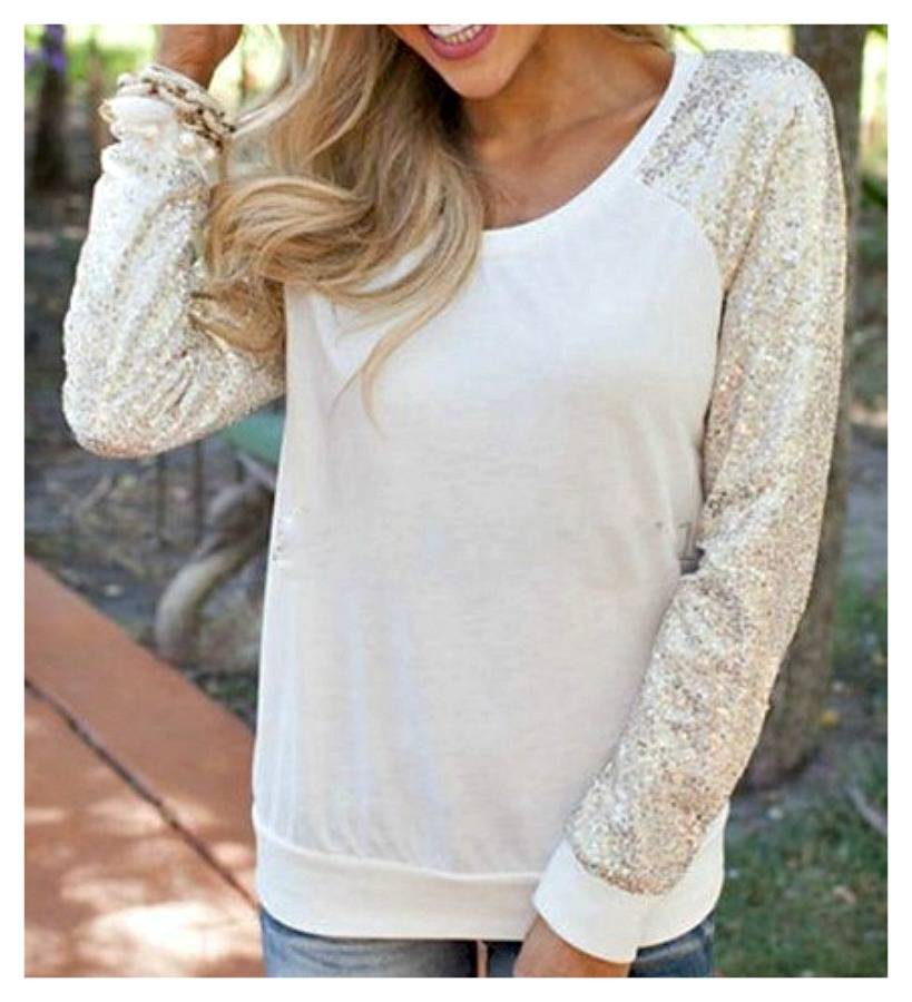 COWGIRL GLAM TOP Sequin Long Sleeve White Top