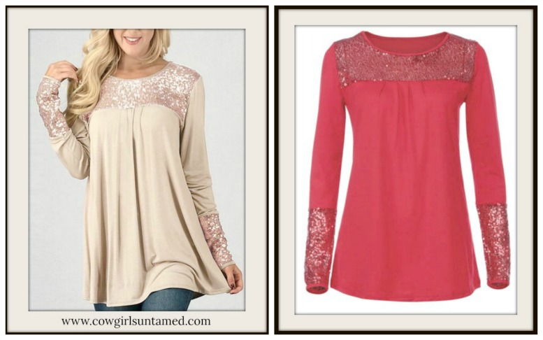 COWGIRL GLAM TOP Sequin Loose Fit Long Sleeve Top  2 COLORS!