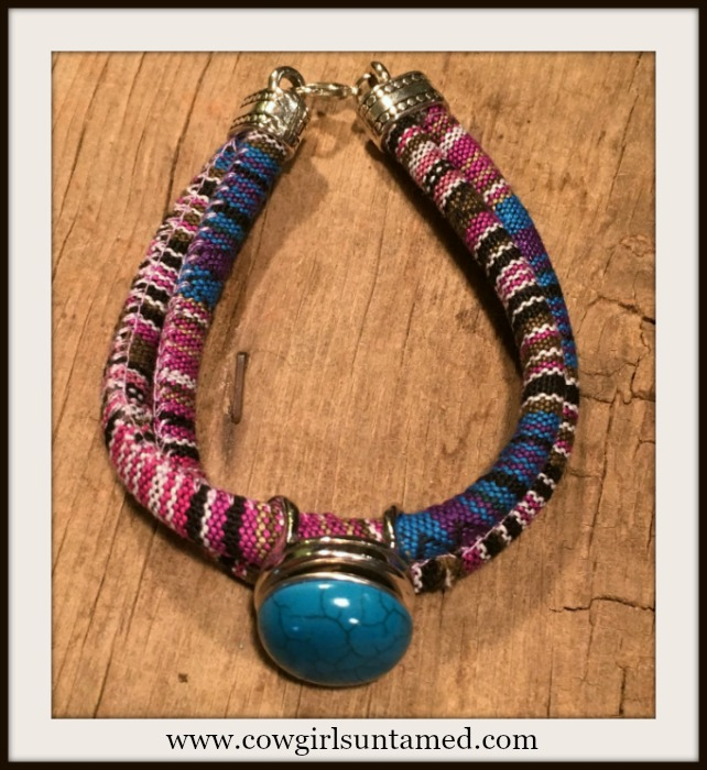 SOUTHWESTERN FLAIR BRACELET Multi Color Blue Serape Stripe Double Strap Silver Snap On Bracelet