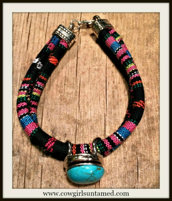 SOUTHWESTERN FLAIR BRACELET Multi Color Black Serape Stripe Double Strap Silver Snap On Bracelet