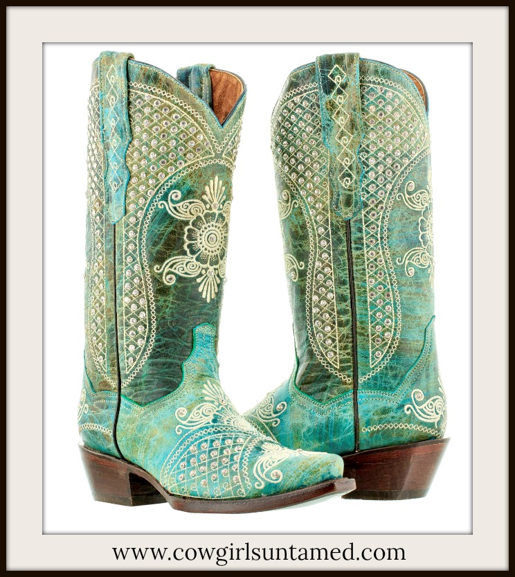 WILDFLOWER BOOTS Rhinestone Studded Beige Embroidery Distressed Turquoise Leather Cowgirl Boots