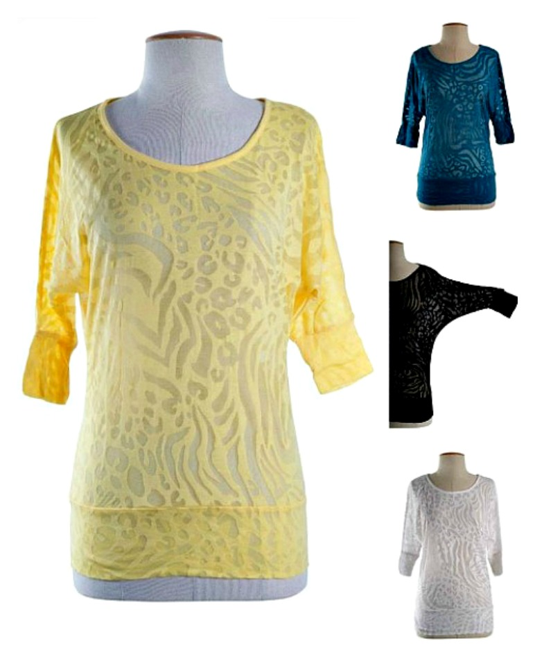 COWGIRL GLAM TOP Sheer Animal Print Burnout 3/4 Batwing Sleeve Western Top with FREE TANK