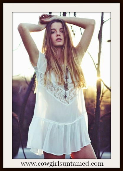 WILDFLOWER DRESS Sheer White Lace and Ruffle Boho Dress Cover Up