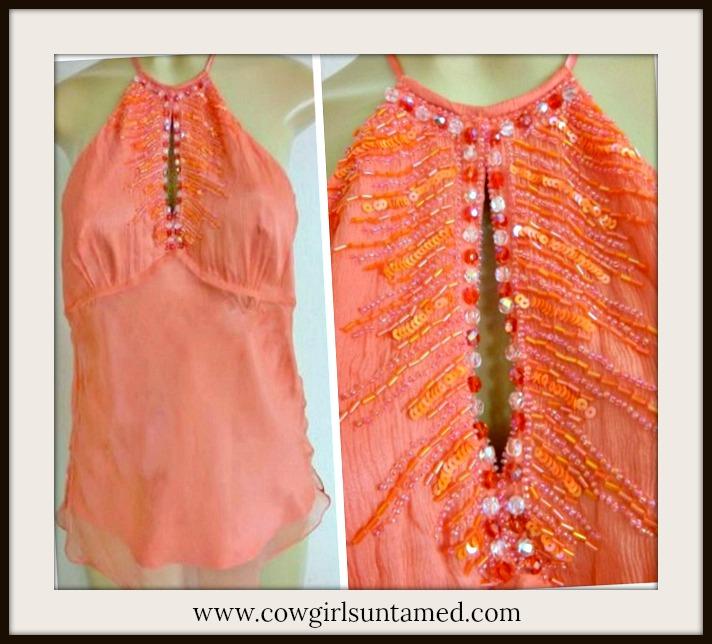 DESIGNER HALTER TOP Gorgeous Designer Coral Sequin Beaded Silk Halter Top