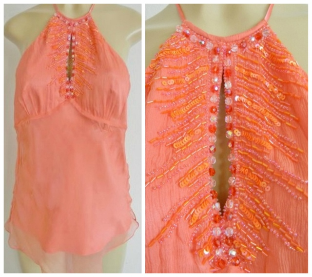 LAUNDRY HALTER TOP Gorgeous Designer Coral Sequin Beaded Silk Halter Top