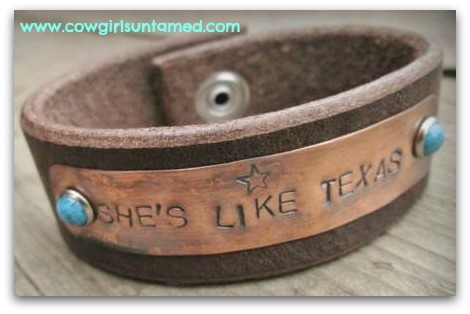 "COUNTRY COWGIRL CUFF ""She's Like Texas"" Turquoise Studded Star Stamped Brown Leather Western Cuff Bracelet"