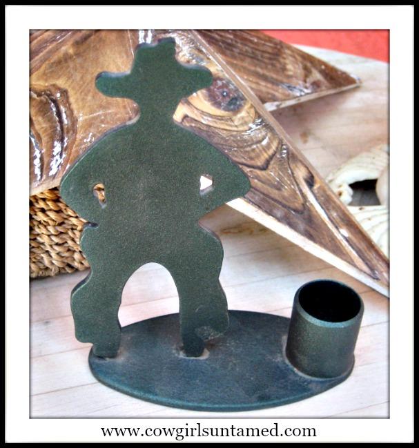 COWBOY STYLE DECOR Black Wrought Iron Metal Cowboy Silhouette Taper Candleholder