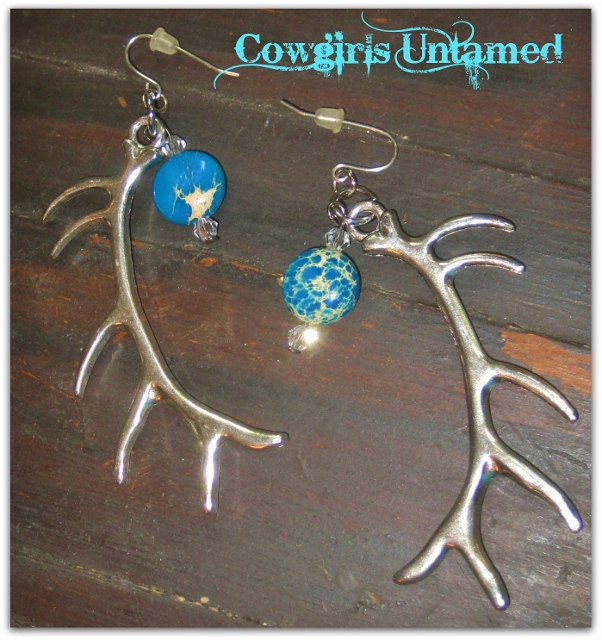 COUNTRY COWGIRL EARRINGS Long Silver Antlers with Gemstone Crystal Western Charm Earrings