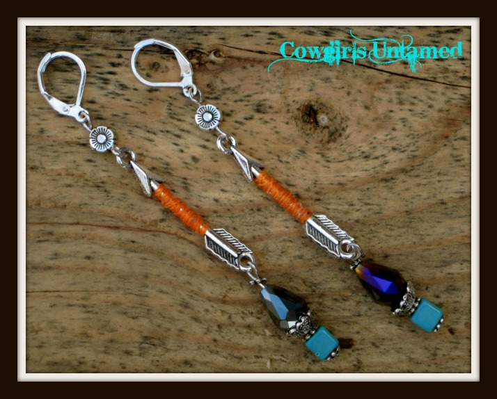WILDFLOWER EARRINGS Orange Silk Wrapped Antique Silver Arrow with Black Crystal N Turquoise Long Earrings