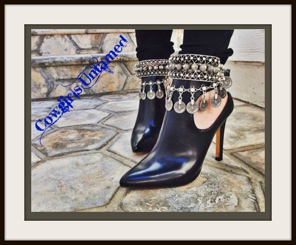 COWGIRL GYPSY BOOT JEWELRY Antique Silver Cross and Coin Charm Anklet Boot Jewelry