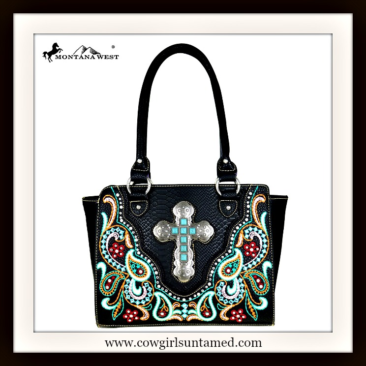 COWGIRL STYLE HANDBAG Turquoise & Silver Cross on Multi-Color Embroidered Paisley Black Handbag
