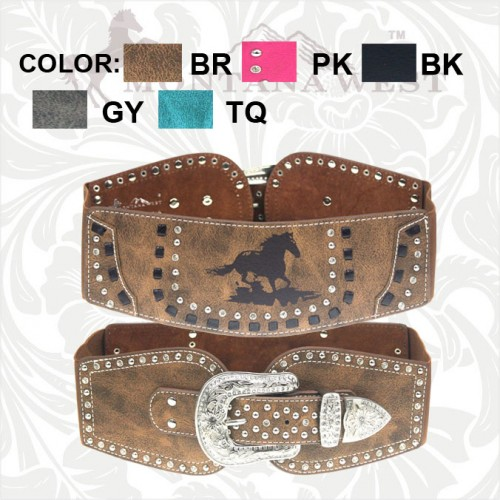 MONTANA WEST BELT Silver Crystal Buckle Rhinestone Studded Horse Wide Leather Western Belt