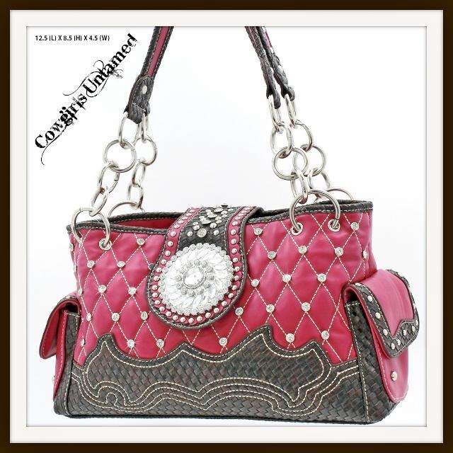 WESTERN COWGIRL HANDBAG Silver Crystal Concho Rhinestone Studded Fuchsia Handbag