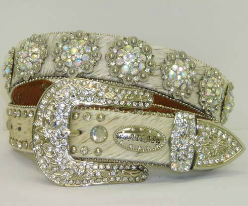 ATLAS BELT Silver Crystal Concho N Buckle White Hair on Hide Leather Western Belt
