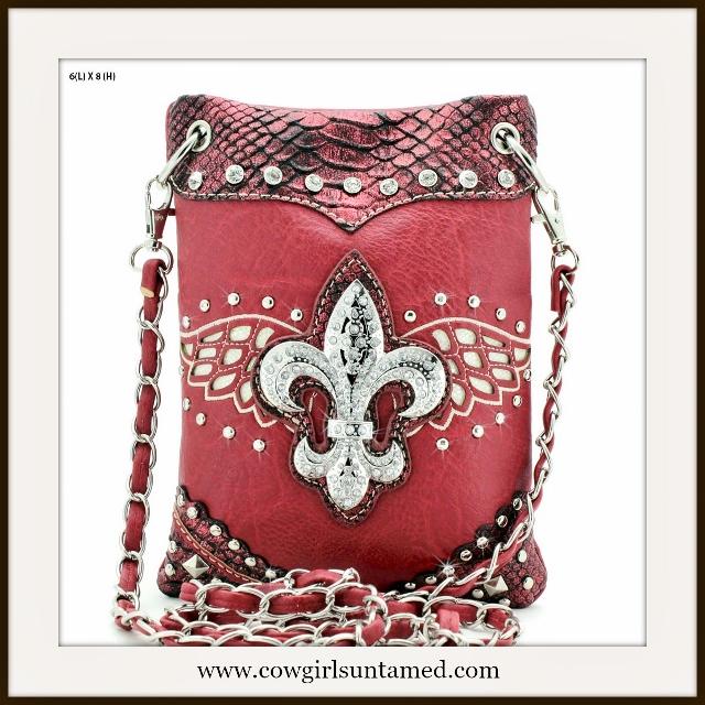 COWGIRL GLAM BAG Silver Crystal Fleur de Lis Red Metallic Messenger Bag