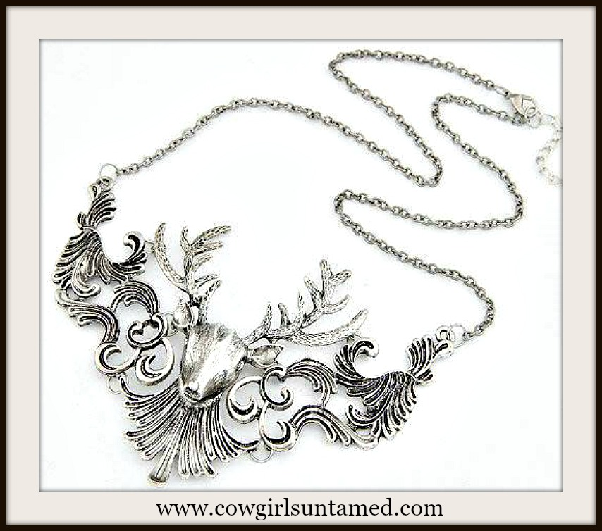 COUNTRY COWGIRL NECKLACE Antique Silver Deer Vintage Look Necklace