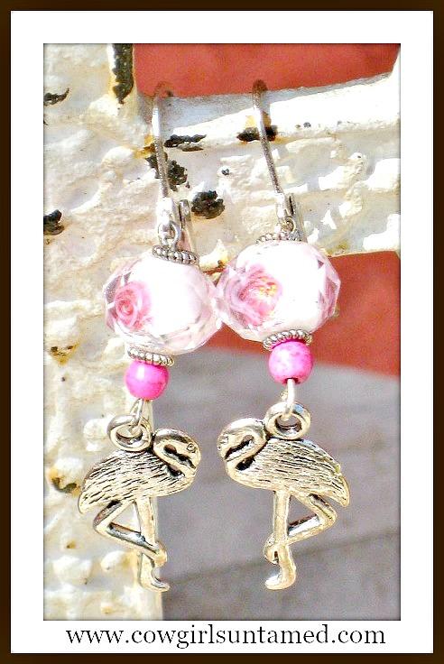 TRAVELIN' COWGIRL GYPSY EARRINGS Silver Flamingo & Crystal Flower Silver Earrings
