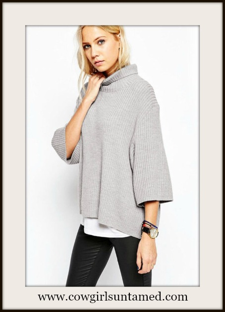 COWGIRL GLAM SWEATER 3/4 Sleeve Turtleneck Style Silver Grey Oversized Sweater