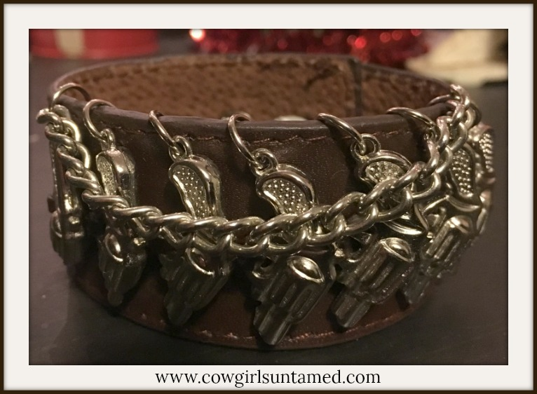 COWGIRL OUTLAW CUFF Silver Pistols and Chain on Brown Leather Bracelet
