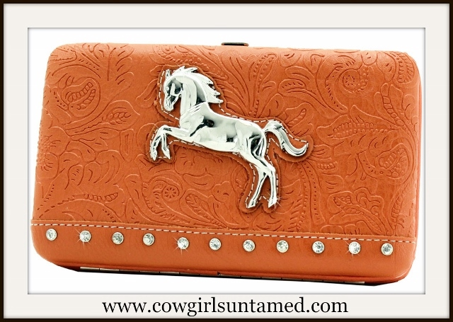WESTERN COWGIRL WALLET Rhinestone Studded Silver Horse Orange Embossed Wallet
