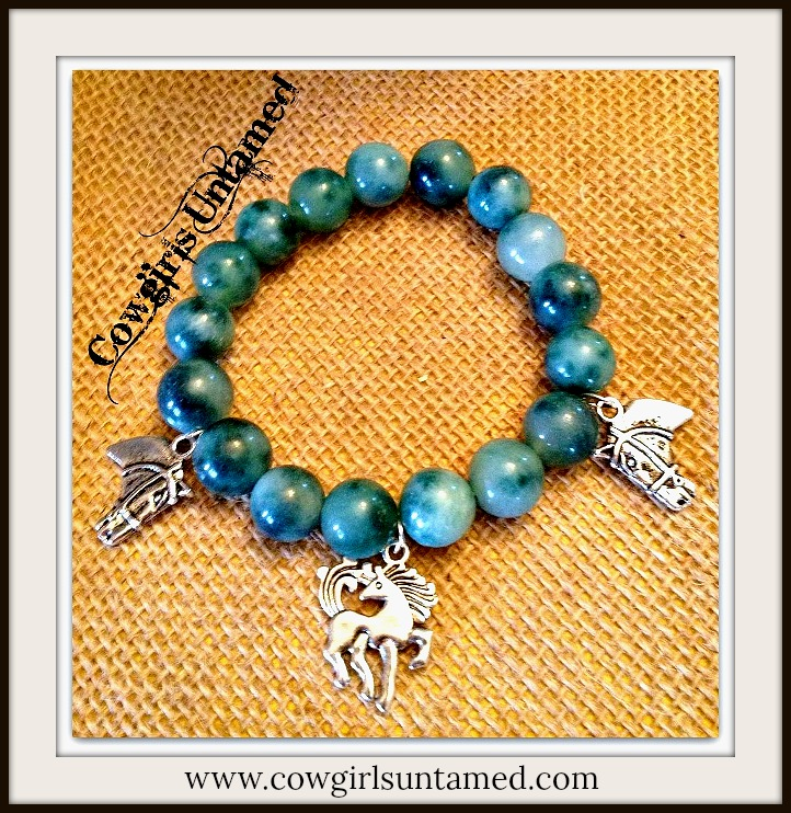 HORSE LOVIN' COWGIRL BRACELET Silver Horse Charms on Green Agate Crystal Western Stretch Bracelet