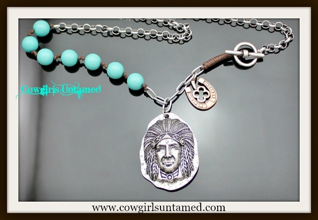 WESTERN COWGIRL NECKLACE Silver Indian Chief Pendant Horseshoe Charm Turquoise Chain Necklace