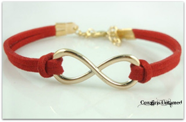 SPIRITUAL COWGIRL BRACELET Red Leather & Silver Infinity Charm Western Bracelet