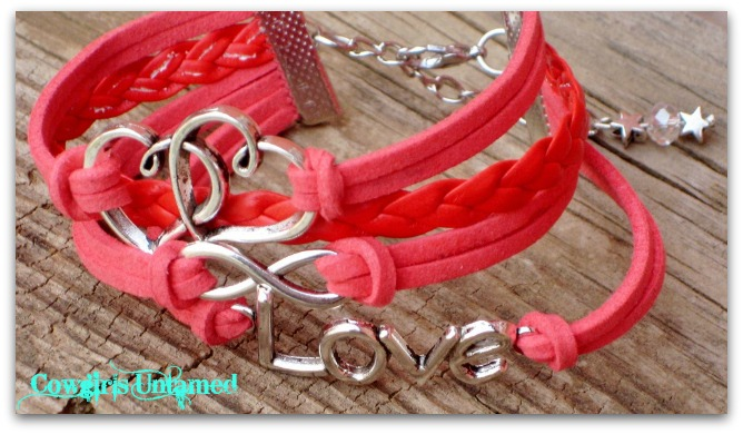 "COWGIRL ATTITUDE BRACELET Silver ""LOVE"" Infinity and DOUBLE HEART on Pink Coral Multi Strand Leather Western Bracelet"