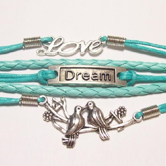 "COUNTRY COWGIRL BRACELET Silver Lovebirds ""DREAM"" and ""LOVE"" Charms Dark Turquoise Leather Bracelet"