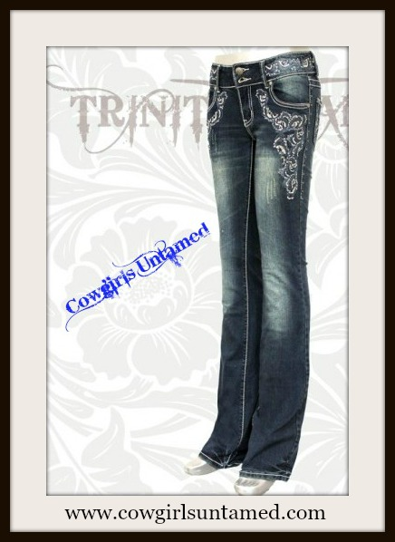 MONTANA WEST JEANS Sequin Embroidery Silver N Rhinestone Studded on Boot Cut Western Jeans