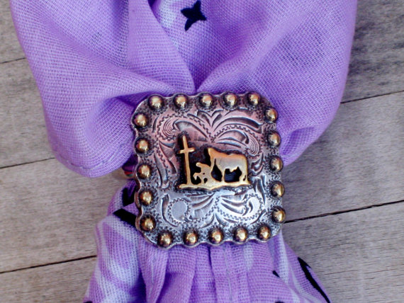 COWGIRL STYLE SCARF SLIDE Silver Praying Cowboy Cross Silver Berry Square Concho Western Scarf Slide with FREE BANDANNA