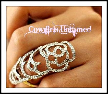 COWGIRL GYPSY RING Silver Rhinestone Floral Knuckle Ring