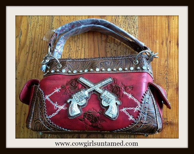 COWGIRL OUTLAW HANDBAG Silver Crystal Sixshooter & Embroidered Roses N' Barbed Wire ON  Tooled Brown and burgundy Red Western Handbag