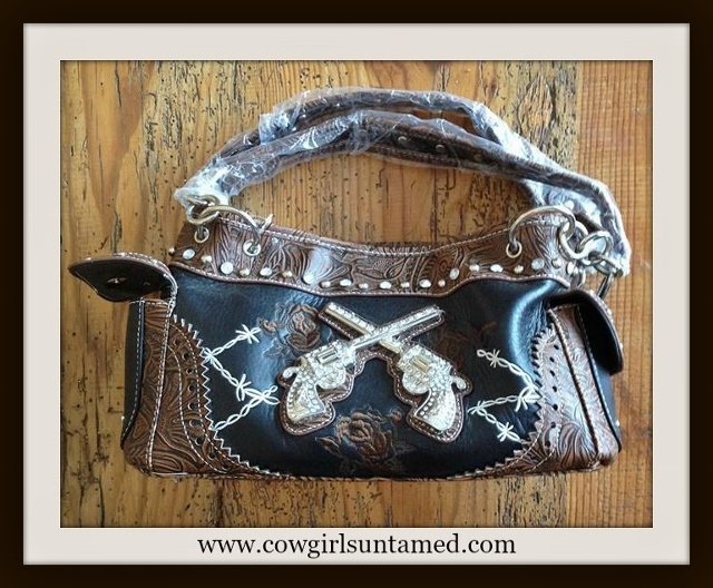 OUTLAW COWGIRL HANDBAG Crystal Sixshooter Embroidered Roses and White Barbed Wire ON Rhinestone Studded Brown and Black Handbag
