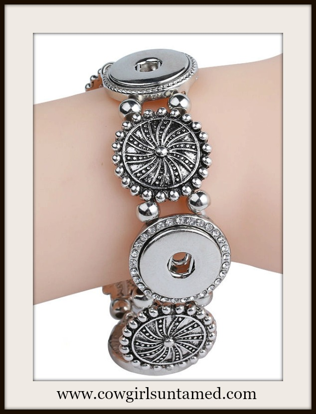 COWGIRL ATTITUDE BRACELET Silver Rhinestone Concho Snap Charm Stretch Bracelet