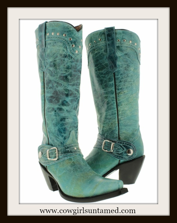 COWGIRL STYLE BOOTS Silver Studded Tall Distressed Aqua GENUINE Leather Western Boots