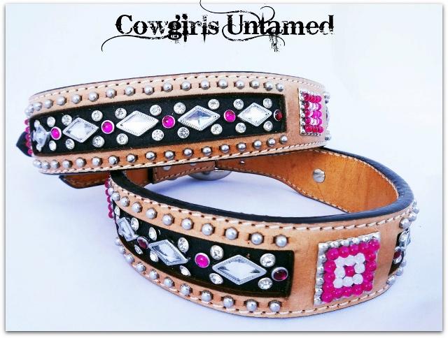 COWGIRL PET STYLE Silver Studded Crystal & Rhinestone Tan Black GENUINE Leather Dog Collar