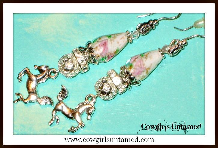 COWGIRL JUNK GYPSY EARRINGS Vintage Rose Rhinestone Antique Silver Horse Charm Western Earrings