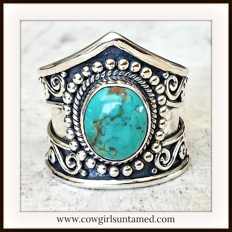 BOHEMIAN COWGIRL RING Sterling Silver Turquoise Ring