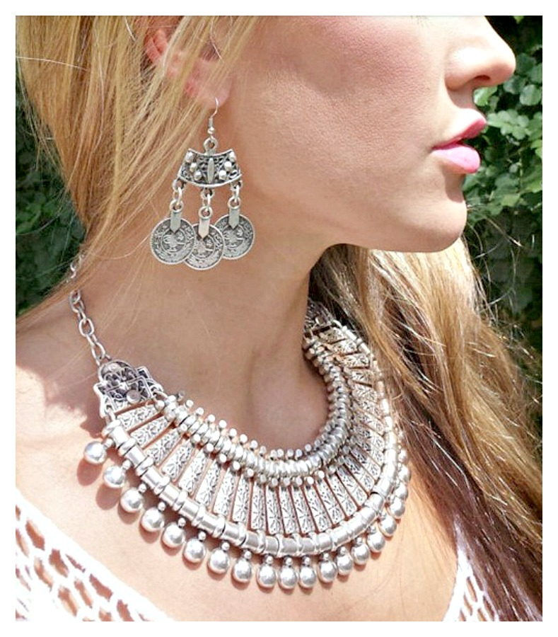 COWGIRL GYPSY NECKLACE Antique Silver Ball Plate Choker Western Necklace