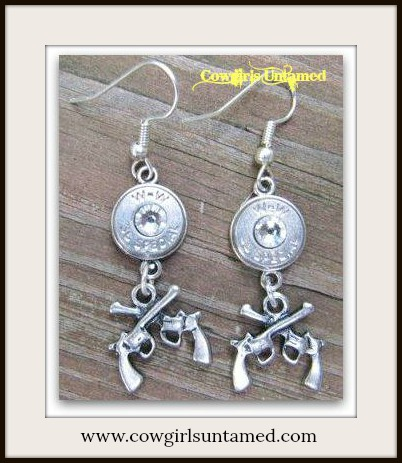 COWGIRL OUTLAW EARRINGS Six Shooter Pistol Charm and Swarovski Crystal Accents .38 Special Silver Western Bullet Earrings
