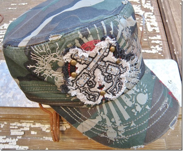 CAMO COWGIRL HAT Rough Edge Crystal Sixshooter Pistol Patch on Green Camo Cadet Western Cap