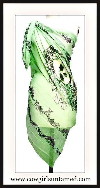 COWGIRL GYPSY SCARF Large Skull Western Scarf Shawl Cover Up