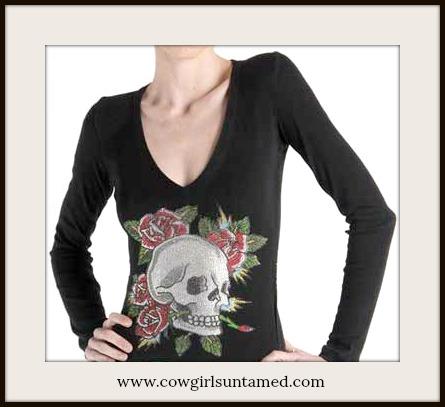 COWGIRL STYLE TEE Rhinestone Skull & Roses Long Sleeve V Neck T-Shirt MISSES & PLUS SIZES