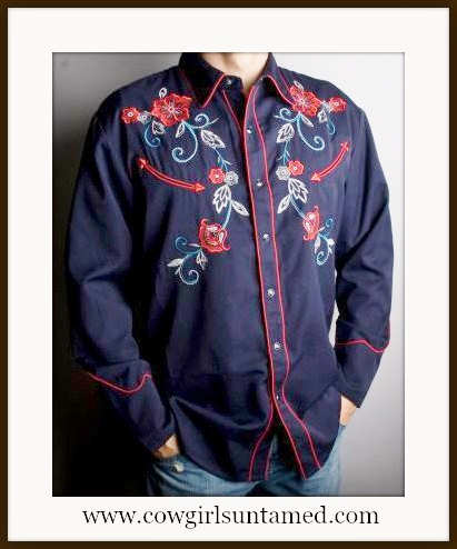 SCULLY COWBOY SHIRT Mens Navy Blue Embroidered Floral Design Long Sleeve Western Shirt