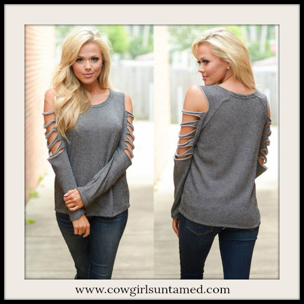 COWGIRLS ROCK TOP Slashed Shoulder Grey Long Sleeve Top Sweater