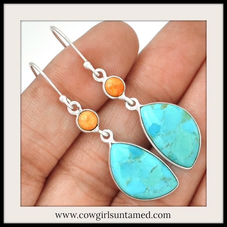 WILDFLOWER EARRINGS Orange Coral & Sleeping Beauty Aqua Turquoise 925SS Earrings