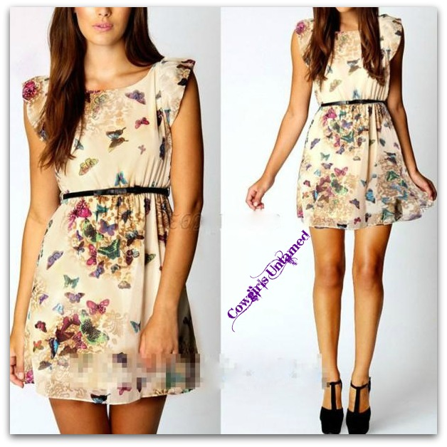 COWGIRL GYPSY DRESS Sleeveless Cream Turquoise and Purple Butterfly Lined Mini Dress with FREE Bow Belt